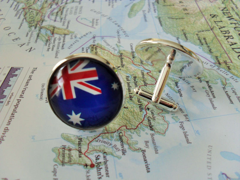 AUSTRALIAN FLAG Silver Cufflinks// National Flag of Australia // Father's Day // Groomsmen  Gift // Patriotic // World Cup Soccer Fan gift - product image