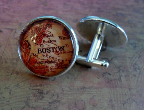 VINTAGE,BOSTON,MAP,Silver,Cufflinks,//,Father's,Day,Groomsmen,Gift,for,Him,Cuff,Links,Map,Jewelry,Boxed,Accessories,Cuff_Links,Hand_Made,Vintage_Map,Fathers_Day_Gift,Groomsmen_Gift,Glass_Domed,Wedding,Boston,Massachusetts,Map_Cufflinks,Unique_Gift,map_cuff_links