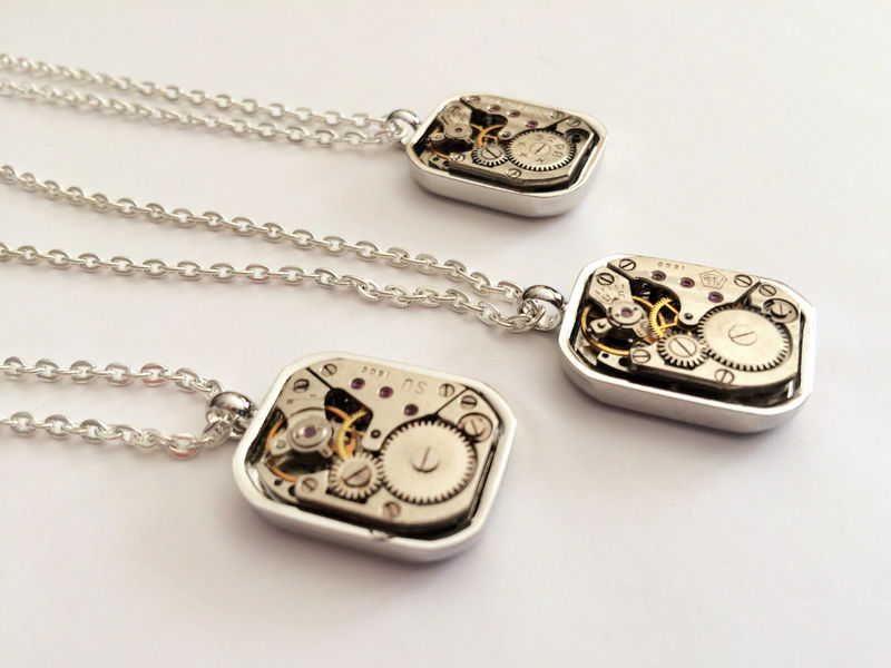 STEAMPUNK Vintage WATCH Movement Pendant Necklace / Unique Gift for Her / Upcycled / 7 jewels / mechanical / industrial / Gift Boxed - product image