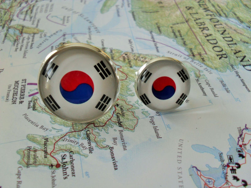 SOUTH KOREAN FLAG Silver Cufflinks / National Flag of South Korea / Father's Day / Groomsmen Gift / Patriotic / World Flag / Gift Boxed - product image