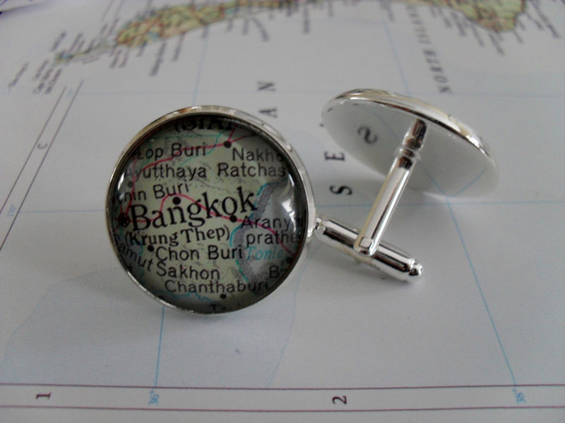 BANGKOK Thailand Map Silver CUFF LINKS / Bangkok Cufflinks / Groomsmen Gift / Personalized Gift for Him / Custom map jewelry / Gift Boxed - product image
