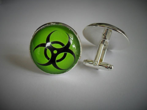 BIOHAZARD,SIGN,Cufflinks,/,Gift,for,Him,White,or,Lime,Green,2,Sizes,Cuff,Links,Scientist,Unique,boxed,Accessories,Cuff_Links,Silver,Cufflink,Unique_Gift_For_Him,Biohazard_Cufflinks,Biohazard_Sign,Biohazard_Symbol,Biohazard_Warning,Gift_For_Scientist,White_Or_Green,Science_Gift,Unique_Gift,Canteam