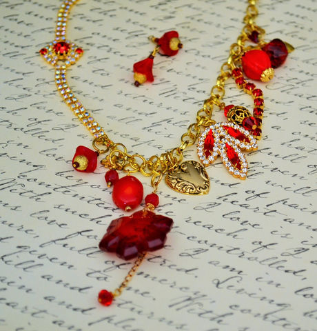 Glittering,RED,Chunky,Cluster,Charm,NECKLACE,SET,/,Reworked,Vintage,Ravishing,Red,Upcycled,Unique,Statement,Necklace,Gift,Boxed,Jewelry,Reworked_Vintage,Floral,One_Of_A_Kind,Ravishing_Red,Set,red_necklace,statement_necklace,Christmas_necklace,red_and_gold,red_rhinestone,necklace_earrings