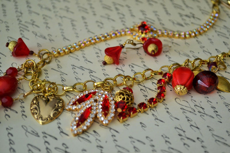 Glittering RED Chunky Cluster Charm NECKLACE SET / Reworked Vintage / Ravishing Red / Upcycled / Unique / Statement Necklace / Gift Boxed - product image