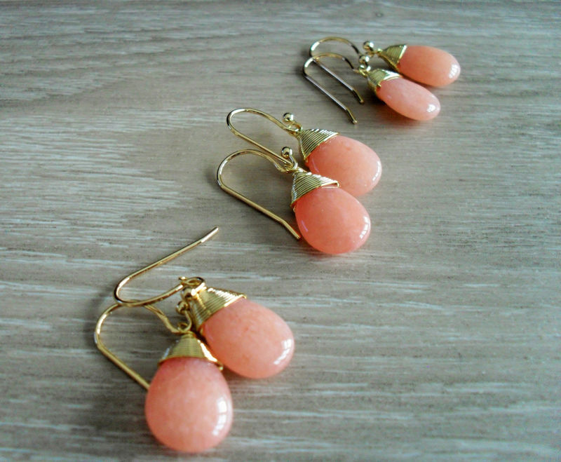BRIDESMAID SET of 3 Pairs Wire Wrapped  Peach Jade Drop EARRINGS  / Semi Precious Stone / Gold  / Dangle / Bridesmaid  / Simple / Gift Boxed - product image
