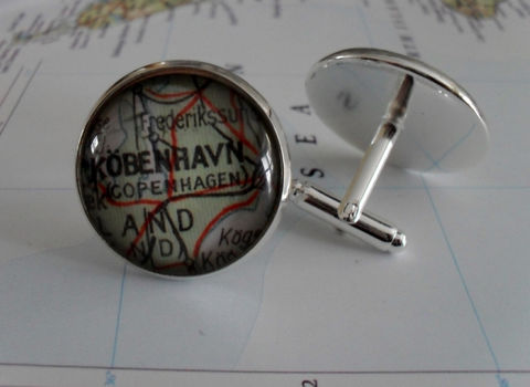 COPENHAGEN,DENMARK,Map,Silver,CUFFLINKS,/,Father's,Day,groomsmen,gift,Personalized,Gift,for,him,map,cuff,links,boxed,Accessories,Cuff_Links,Hand_Made,Groomsmen_Gift,Gift_For_Him,Custom,Copenhagen,Kobenhavn,Denmark,Wedding,Map_Cufflinks,Unique_Gift,map_cuff_links