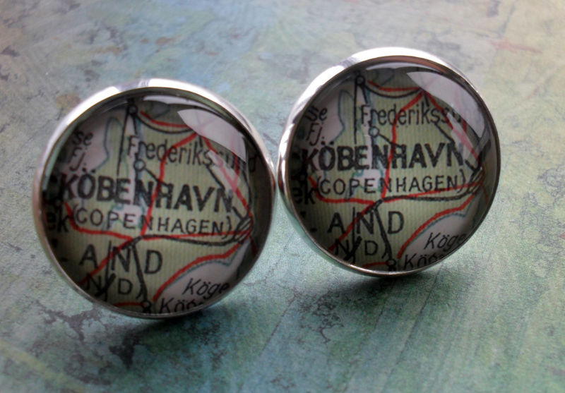 COPENHAGEN DENMARK Map Silver CUFFLINKS / Father's Day / groomsmen gift / Personalized Gift for him / map cuff links / gift boxed - product image
