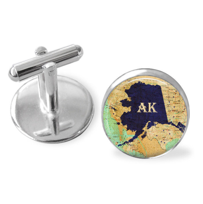 ALASKA STATE Map Cufflinks / Alaska cuff links / AK cufflinks / custom map jewelry / Groomsmen Gift / Personalized Gift for Him / Gift boxed - product image
