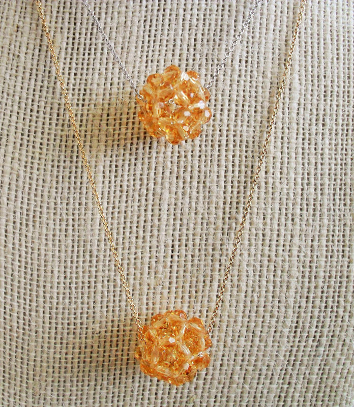 Floating Woven CRYSTAL Beaded Pendant  Necklace / Honey Topaz /  SWAROVSKI Crystal / Silver or Gold Chain / Simple / Minimalist / Gift Box - product image