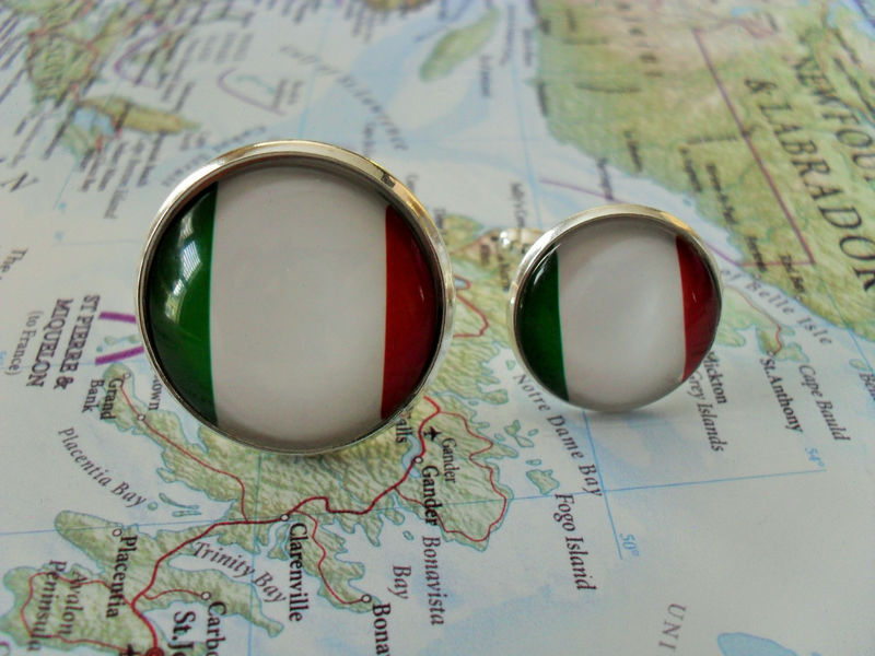ITALIAN FLAG  Cufflinks // National Flag of ITALY / Silver / Father's Day / Groomsmen Gift / Patriotic Cuff links / Flag jewelry / gift box - product image