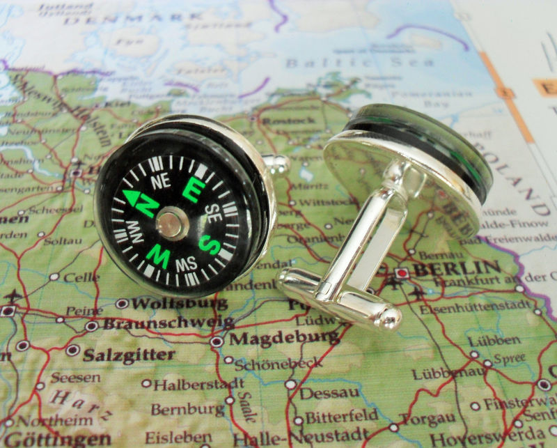 Working Real COMPASS Silver CUFFLINKS / Steampunk / Gift for Outdoorsman / Father's Day / Groomsmen Gift / Gift for Him / cuff links - product image