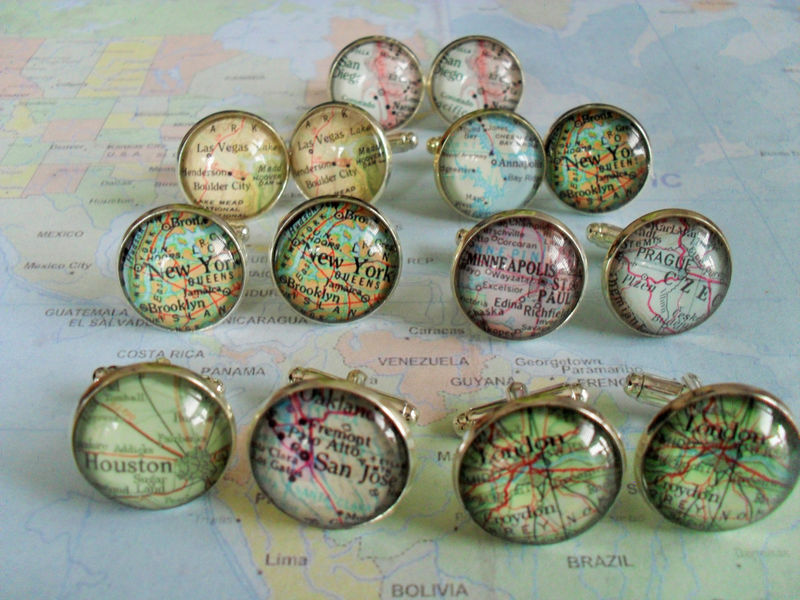 Map Cufflinks / Groomsmen Gift / 7 sets / Made to Order / 2 Sizes / Custom Map Cuff Links / Mix and match / Gift boxed / Wedding cufflinks - product image