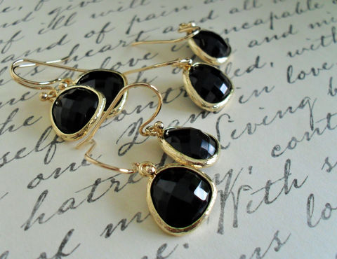 Bridesmaid,Set,of,3,Pairs,/,Gold,Framed,Faceted,FRENCH,JET,Drop,EARRINGS,Black,Glass,Dangle,Simple,and,earrings,Classy,Weddings,Jewelry,Hypoallergenic,Hand_Made,French_Jet,Black_Glass,Faceted_Glass,Elegant,Bridesmaid_Earrings,Simple_Black_Earring,Classy_Earrings,set_of_3