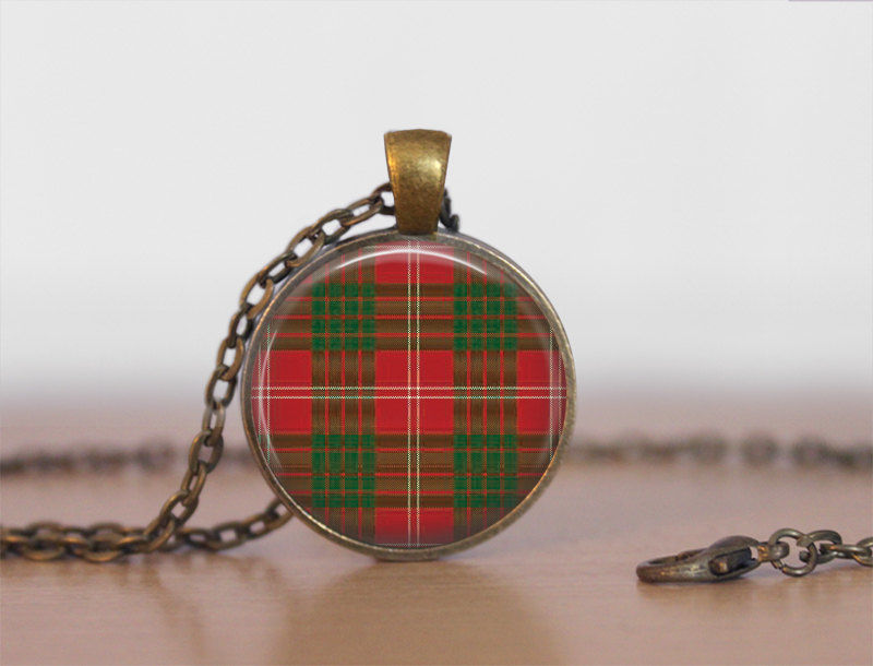 CRAWFORD TARTAN Pendant Necklace / Scottish Tartan Jewelry / Ancestral Jewellery / Crawford Clan /  Family Jewelry / Personalized Gift / - product images
