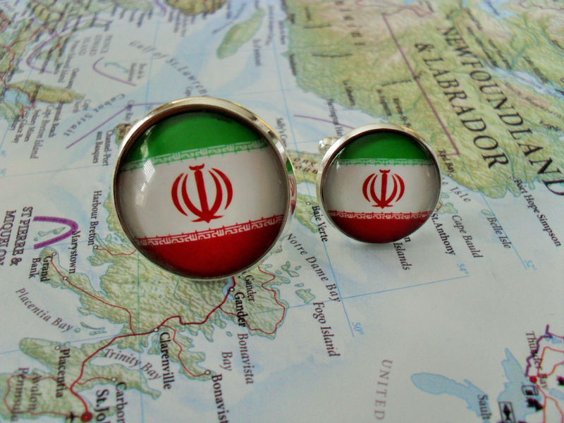 IRANIAN FLAG Cufflinks / National Flag of IRAN  / Father's Day / Groomsmen Gift / Patriotic cufflinks / Flag cuff links / Flag jewelry - product image