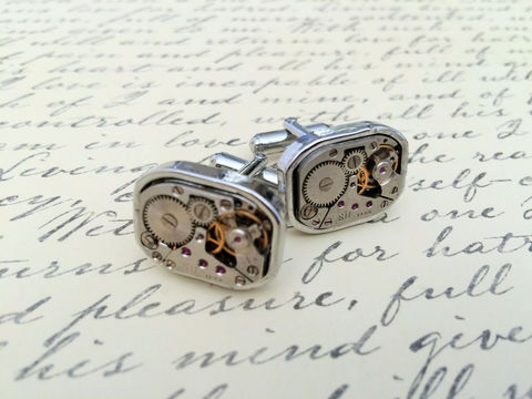 STEAMPUNK,Vintage,WATCH,Movement,CUFFLINKS,//,Industrial,Retro,Unique,Gift,Cool,Cuff,Links,Upcycled,7,jewels,mechanical,Weddings,Jewelry,Hand_Made,Cufflinks,Fathers_Day_Gift,Groomsmen_Gift,Watch_Movement,Vintage_Watch,Steampunk,Mechanical_Watch,Jewels,French_Cuff,Unique_Gift,cool_cufflinks