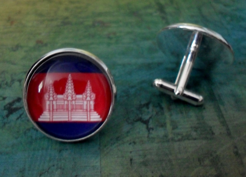 CAMBODIAN FLAG Silver Cufflinks // National Flag of Cambodia // Father's Day // Groomsmen Gift // Wedding // Patriotic Cuff Links / Gift box - product image