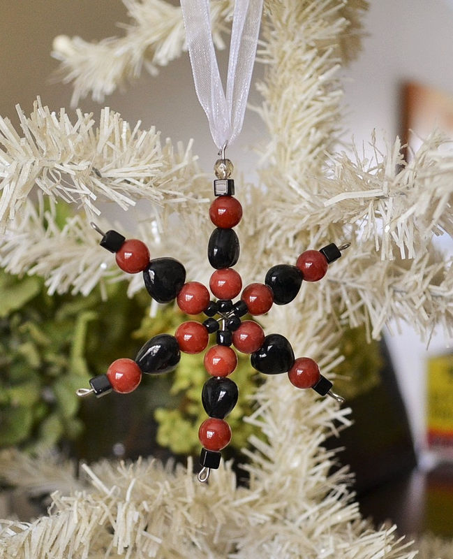 Beaded SNOWFLAKE ORNAMENT / carnelian & black glass beads / Suncatcher / Christmas / Hostess Gift / Winter Home Decor / teacher Gift / decor - product image