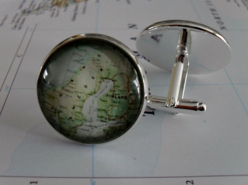 NORWAY, SWEDEN, Finland Map Cufflinks // Groomsmen Gift / Gift for Him / Custom Map Cufflinks / Map Cuff Links / Map jewelry / Country - product image