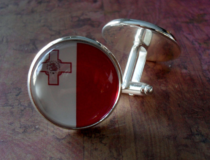 MALTESE FLAG Silver Cuff links / National Flag of MALTA / Father's Day / Groomsmen Gift / Wedding / Patriotic / Gift boxed - product image