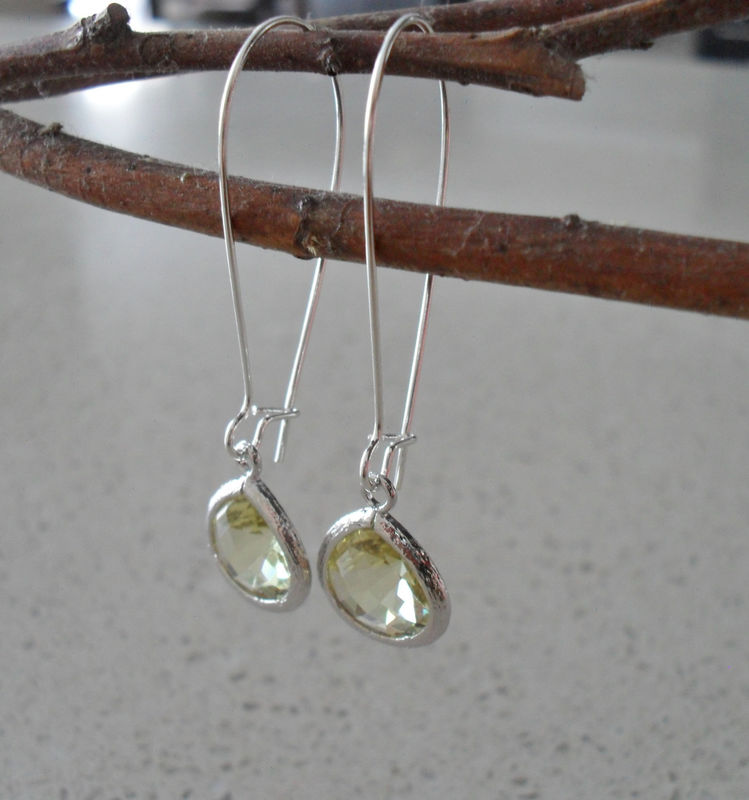 CITRINE YELLOW EARRINGS / Pale Yellow Drop Earrings / Faceted Glass / Silver / Dangle / Bridesmaid / Simple / Citrine Earrings / Gift Box - product image