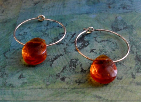AMBER,Glass,BRIOLETTE,Drop,EARRINGS,//,Hoop,Earrings,Floating,Bead,//Simple,Unique,Gift,for,Her,Boxed,Jewelry,Canadian,Hand_Made,Amber,Silver_Hoop,Briolette,Gift_For_Her,Unique_Gift,Canteam,simple_earrings,hoop_earrings,floating_bead,crystal_earrings,gift_boxed