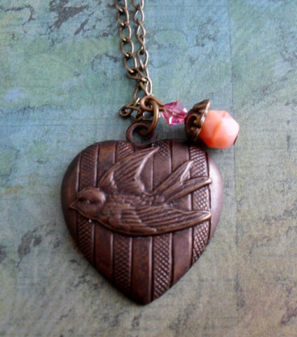 BIRD,in,Flight,HEART,Pendant,NECKLACE,//,Vintage,style,Simple,Pretty,Gift,for,Her,boxed,Jewelry,Necklace,Earrings,Canadian,Designer,One_Of_A_Kind,Hand_Made,Crystal,Antique_Brass,Heart,Bird,Swarovski,Unique_Gift,Canteam