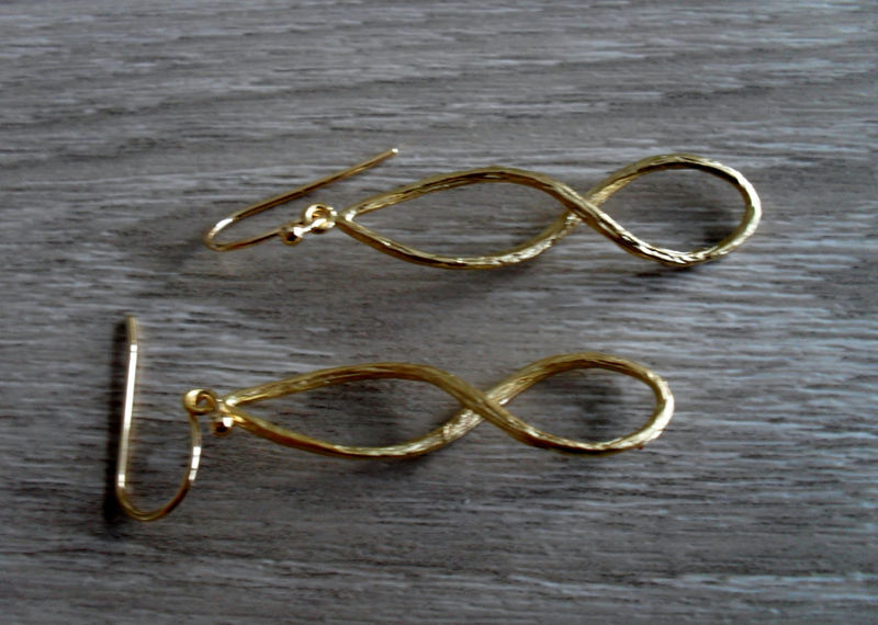 GOLD INFINITY EARRINGS  // Bridal // Love // Texured matte gold // Dangle Earrings // Wedding // Unique gift for her // anniversary gift - product image
