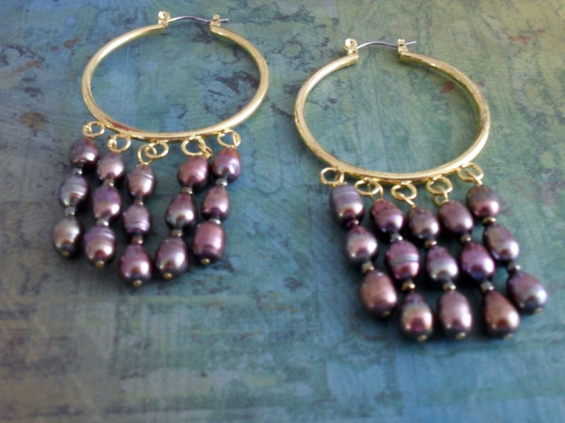 Fabulous PURPLE Freshwater PEARL Hoop EARRINGS // Mauve // Gift for Her // Stunning Earrings // Purple and Gold // Gift Boxed - product image