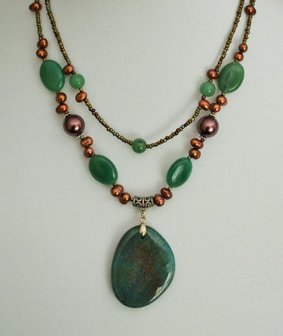 Green,AGATE,&,Bronze,Freshwater,PEARL,Beaded,NECKLACE,/,Natural,Stone,Semi,Precious,Unique,Gift,for,Her,Boxed,Seedbeads,Jewelry,Necklace,Canadian,Hand_Made,Freshwater_Pearls,beaded_necklace,natural_stone_choker,semi_precious_stone,gemstone_necklace,gift_for_her,gift_boxed,beaded_agate,green_agate,bronze_pearls,agate_pendant