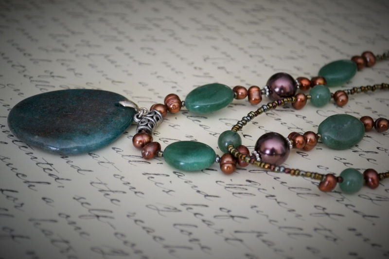 Green AGATE & Bronze Freshwater PEARL Beaded  NECKLACE  / Natural Stone / Semi Precious / Unique Gift for Her / Gift Boxed / Seedbeads - product image