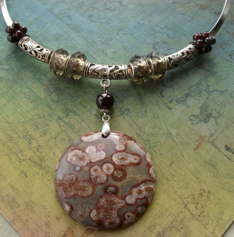 Large,natural,OCEAN,JASPER,gemstone,pendant,,smokey,quartz,crystal,and,woven,garnet,beads,silver,choker,necklace,/,Gift,boxed,Jewelry,Necklace,Canadian,Designer,One_Of_A_Kind,Hand_Made,Crystal,Silver,Choker,Ocean_Jasper,Garnet,Smoky_Quartz,Filigree,Unique_Gift