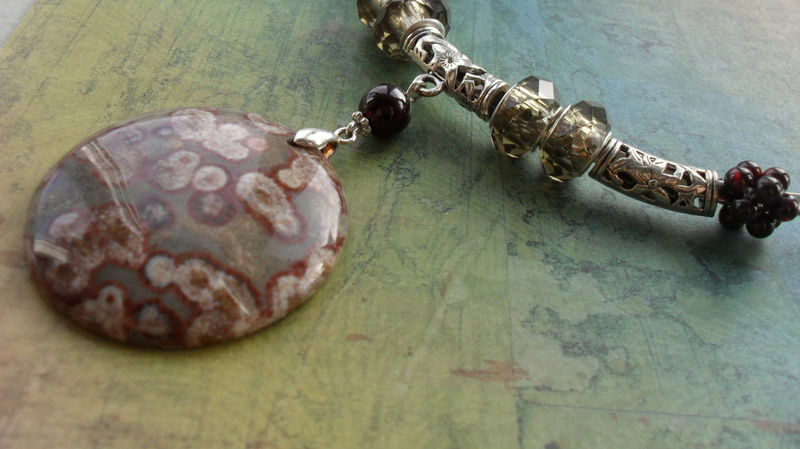 Large natural OCEAN JASPER gemstone pendant, smokey quartz crystal and woven garnet beads silver choker necklace / Gift boxed - product image