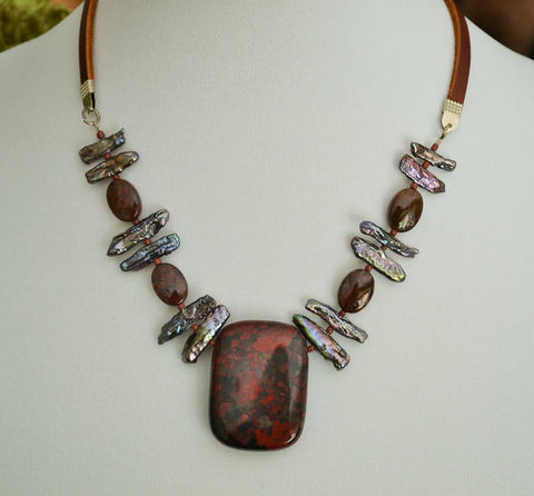 Red,Brecciated,JASPER,&,Gray,Stick,PEARL,Beaded,Leather,NECKLACE,/,Natural,Stone,Semi,Precious,Unique,Gift,for,Her,Boxed,Jewelry,Necklace,Canadian,Hand_Made,Freshwater_Pearls,stick_pearls,beaded_necklace,leather_necklace,natural_stone_choker,casual_necklace,red_jasper,brecciated_jasper,gray_pearls,semi_precious_stone,stone_necklace
