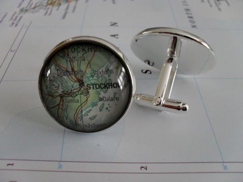 STOCKHOLM,SWEDEN,Sweden,Map,Silver,CUFFLINKS,//,Father's,Day,Groomsmen,Gift,for,Him,2,Sizes,Cuff,links,Accessories,Cuff_Links,Canadian,Bjeweled_Vintage,Hand_Made,Cufflinks,Vintage_Map,Fathers_Day_Gift,Groomsmen_Gift,Glass_Domed,Stockholm,Map_Cufflinks,Unique_Gift