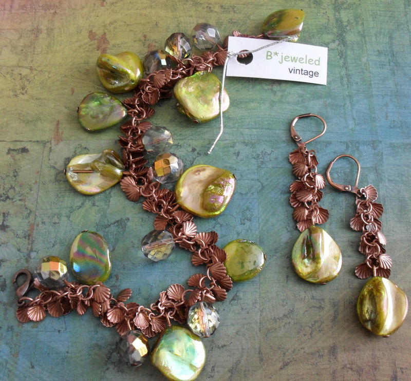 Chartreuse SHELL & COPPER Beaded Bracelet and Earrings SET // Shell Charms // Lime Green // crystal // Unique // Gift for Her // Giftboxed - product image