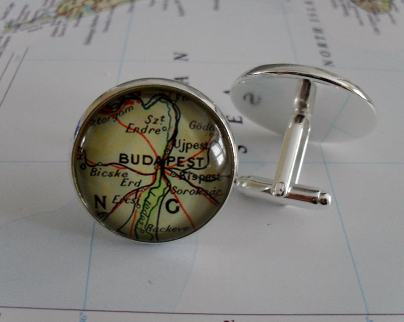 BUDAPEST Hungary Map Silver CUFF LINKS // Father's Day // groomsmen gift // 2 Sizes // Gift for Him // Map Cufflinks // Gift Boxed - product image