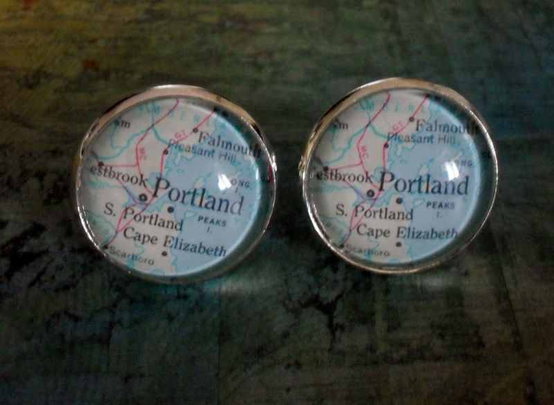 PORTLAND MAINE Map Silver Cufflinks / Portland Map cuff links / Father's Day / personalized groomsmen gift / map jewelry / Gift for him - product image