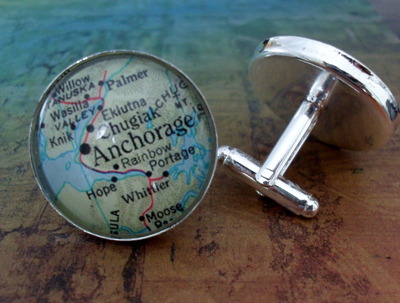 Anchorage Alaska Map Cufflinks / Groomsmen Gift / Gift for Him / 2 Sizes / Custom Map Cuff Links / Map jewelry / Map Cufflink / Gift Boxed - product image