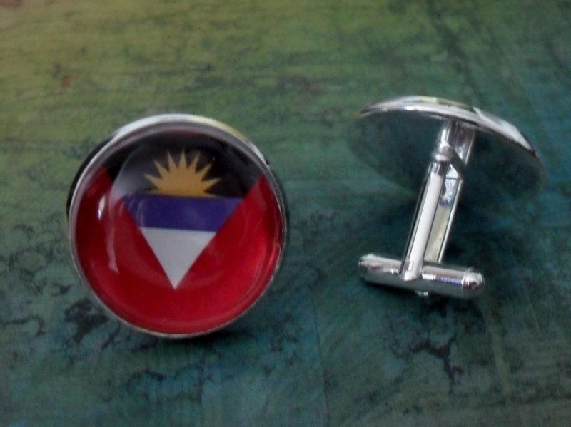 ANTIGUA and BARBUDA Flag Silver Cufflinks // Father's Day // Groomsmen Gift // Wedding // Patriotic Cuff Links // flag jewelry // Gift Boxed - product image
