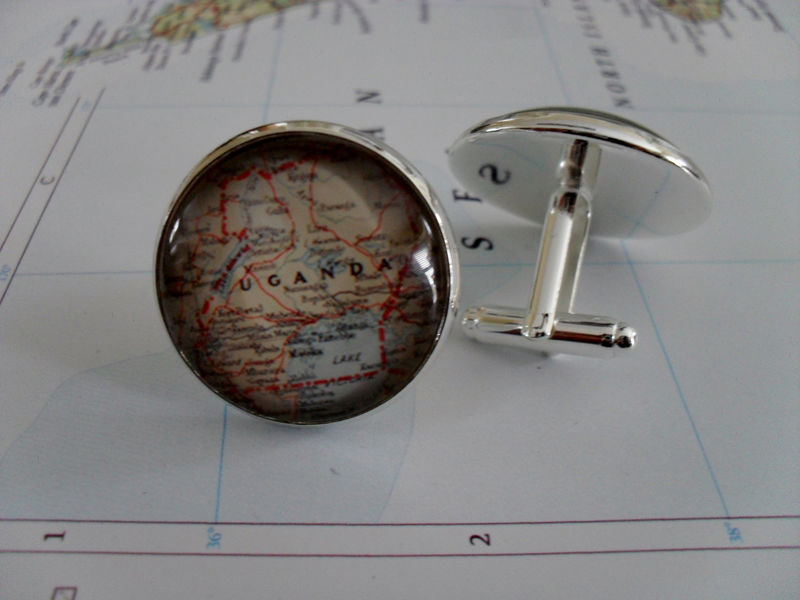 UGANDA Map Silver CUFF LINKS / Father's Day / Groomsmen Gift / Anniversary //gift for him / cufflinks / cuff link / Gift boxed - product image