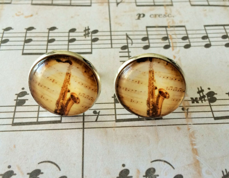 SAXOPHONE  CUFFLINKS / Musical Instrument Cuff Links / Cool Gift for Him / Musician cufflinks / gift for Saxophone Player / Gift Boxed - product image