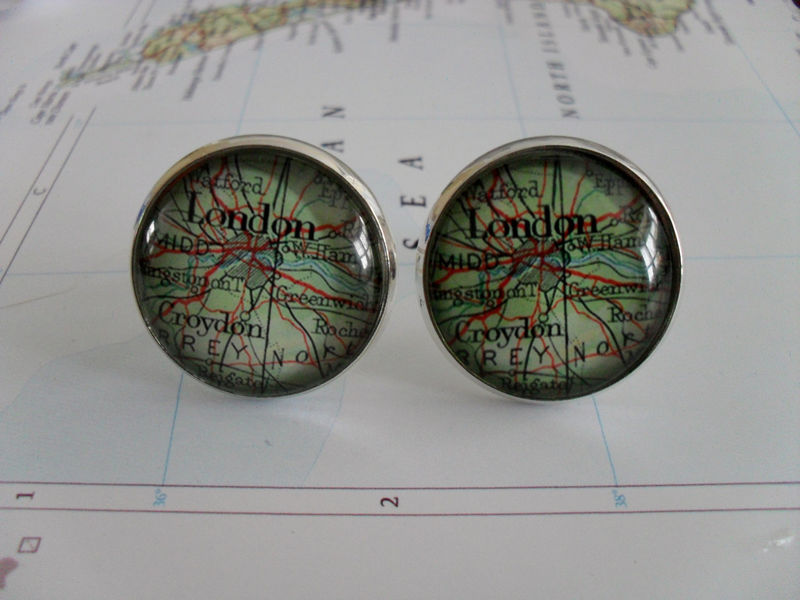 LONDON ENGLAND Map Silver CUFFLINKS / Father's Day / Groomsmen Gift / Personalized Gift for Him // 2 Sizes / Vintage Map cuff links / boxed - product image