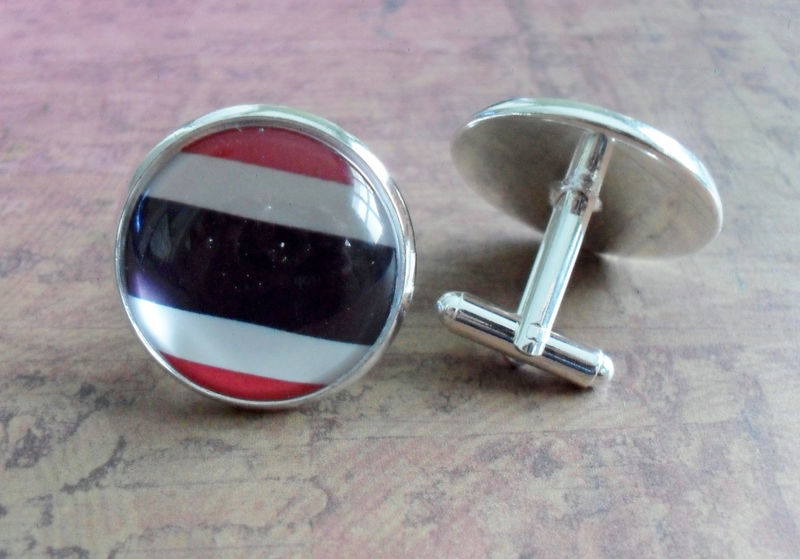 THAI FLAG Silver Cufflinks // National Flag of THAILAND // Father's Day // Groomsmen Gift // Wedding // Patriotic Cuff Links // Gift Boxed - product image