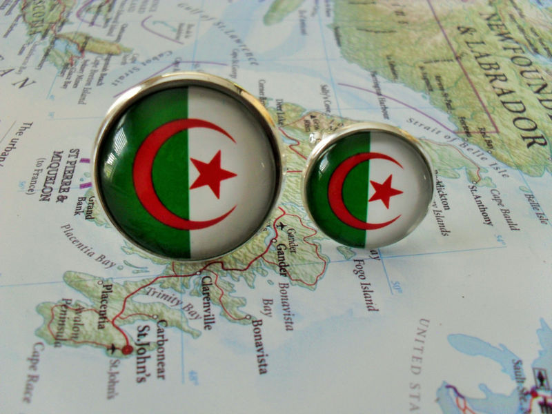 ALGERIAN FLAG Silver CUFFLINKS / National Flag of Algeria  Cuff Links / Father's Day / Groomsmen Gift / Patriotic cufflink / Gift boxed - product image