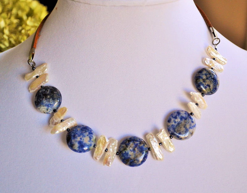 SODALITE & Stick PEARL Beaded Leather NECKLACE / Blue and White / Natural Stone / Semi Precious / Unique Gift for Her / Gift Boxed / Choker - product image