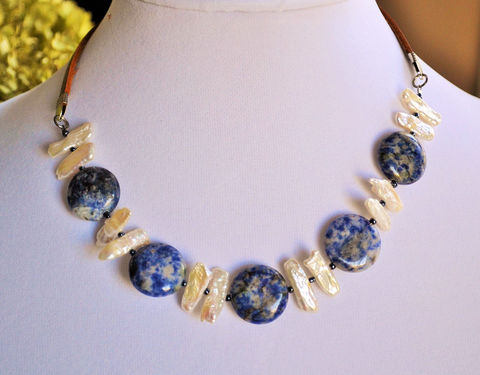 SODALITE,&,Stick,PEARL,Beaded,Leather,NECKLACE,/,Blue,and,White,Natural,Stone,Semi,Precious,Unique,Gift,for,Her,Boxed,Choker,Jewelry,Necklace,Canadian,Hand_Made,Antique,Freshwater_Pearls,sodalite_necklace,blue_and_white,stick_pearls,blue_stone_necklace,beaded_necklace,leather_necklace,natural_stone_choker,casual_necklace,boho_necklace