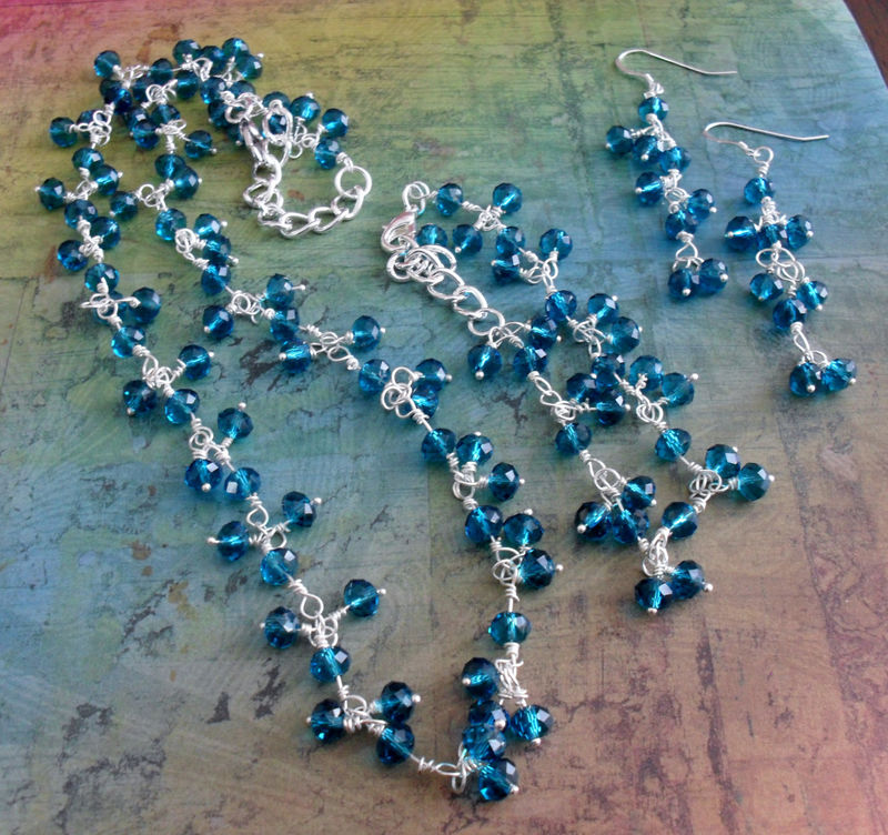 Stunning AQUAMARINE Beaded CRYSTAL Necklace , Bracelet & Earrings Set / Teal / Sterling Silver / Unique Gift For Her / Gift boxed / Gorgeous - product image
