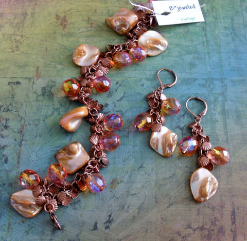Peachy,Copper,Beaded,BRACELET,and,EARRINGS,SET,//,Shell,Beachy,Gift,For,Her,boxed,Jewelry,Shells,Earrings,Canadian,One_Of_A_Kind,Hand_Made,Peach,Gift_For_Her,Unique_Gift,Canteam,copper_bracelet,bracelet_set,beach_jewelry