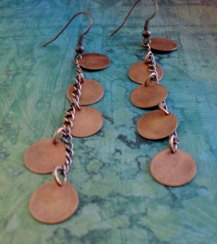 Long,Cascading,Antiqued,COPPER,DROP,EARRINGS,//,Unique,Gift,for,Her,Boxed,Jewelry,Earrings,Canadian,One_Of_A_Kind,Hand_Made,Copper,Antiqued_Copper,Copper_Discs,Chain,Drop_Earrings,Unique_Gift,Canteam,copper_earrings